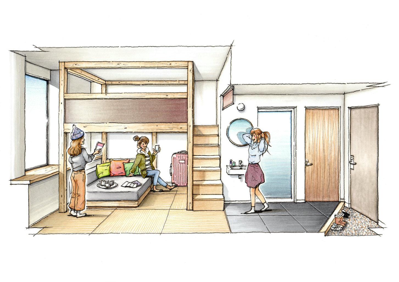 ◇YAGURA Room◇3名さまでのお泊まりでも、空間を生かした自在な過ごし方が叶います