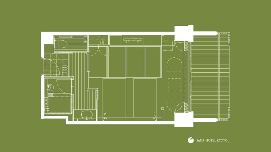 デラックスツイン(縁側テラス付) 41平米(一例)