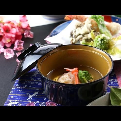 【夕食一例*春】こごみと蟹椀