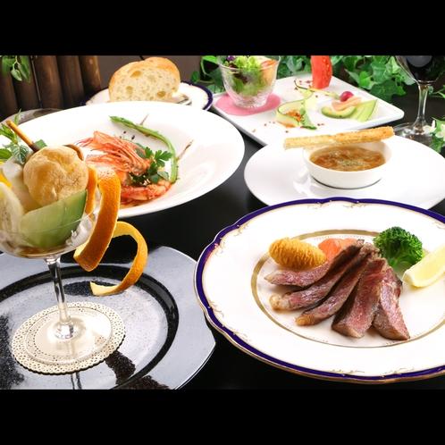 【フレンチフルコース】オーナーシェフ手作りの夕食は季節によって素材が変わります