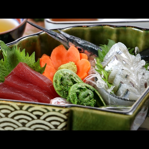 【夕食一例*春】山菜と刺身