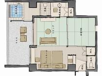 是空Eタイプリビング8畳+和室8畳+ベッドルーム+半露天風呂付