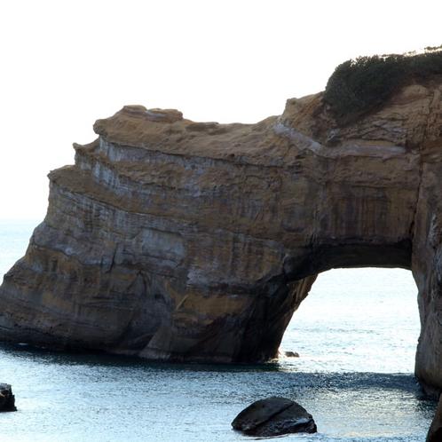 【景色・観光】多く存在する奇岩のひとつ自然に作り出された《象の水飲み岩 (竹崎海岸)》