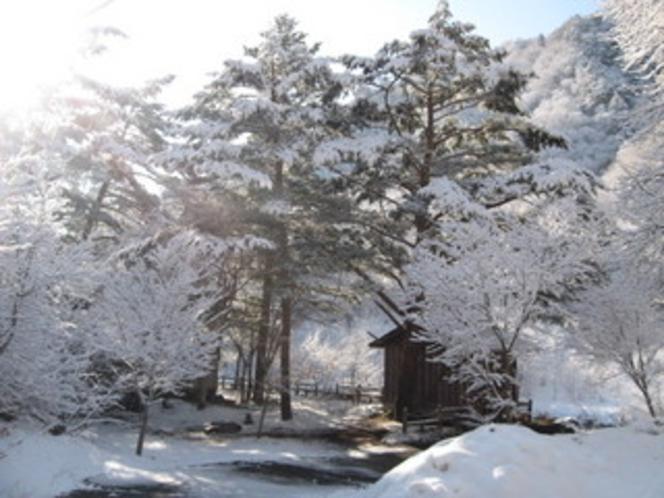 雪景色の宿周辺