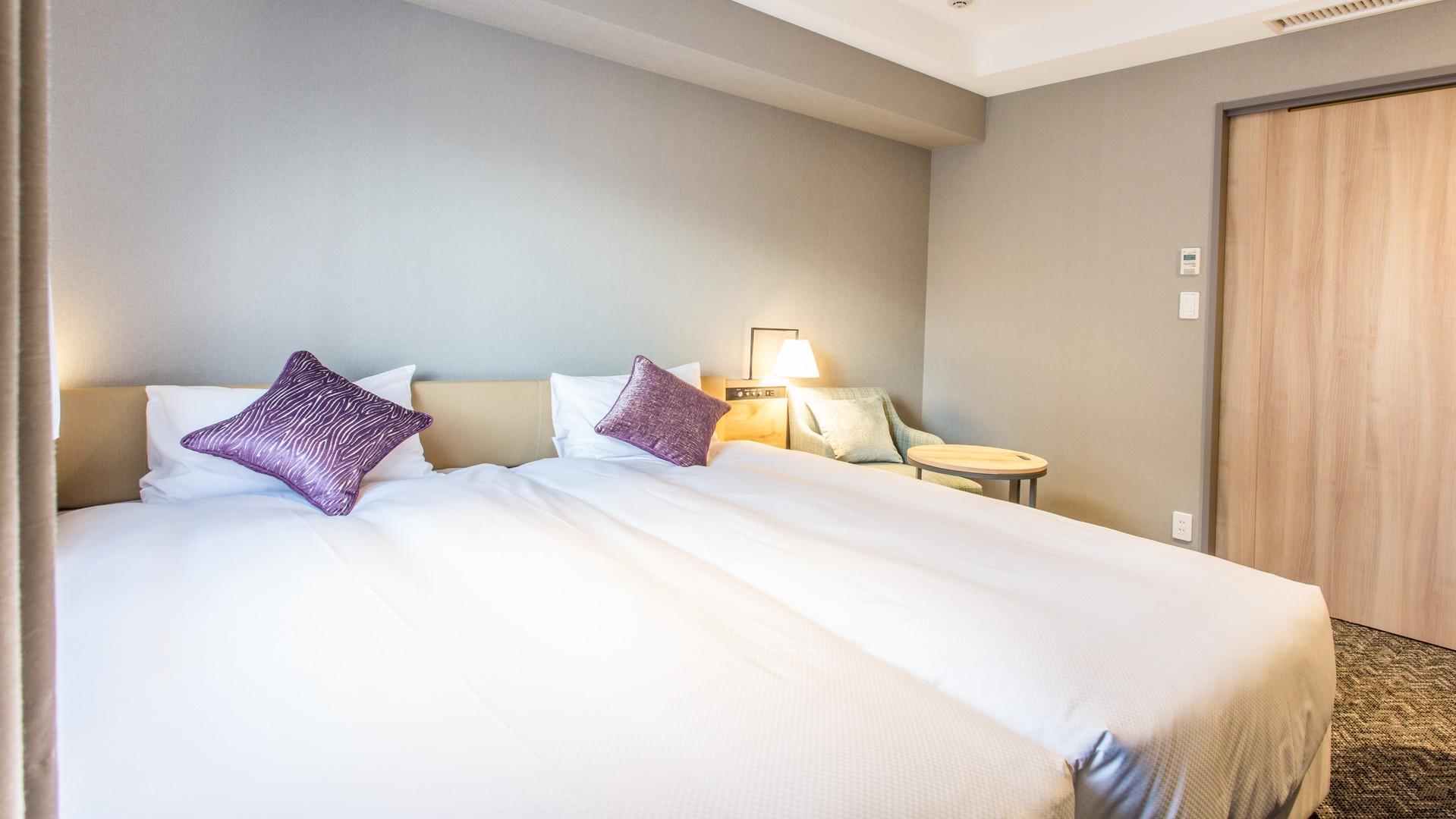 [スタンダードツイン] 17.4m2 ベッド幅100cm2台(ベッド2台がくっついているタイプです)