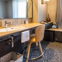 セミダブルルームの洗面台(客室内に設置されています)