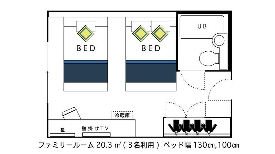 ファミリールーム【セミダブル+シングル】20平米