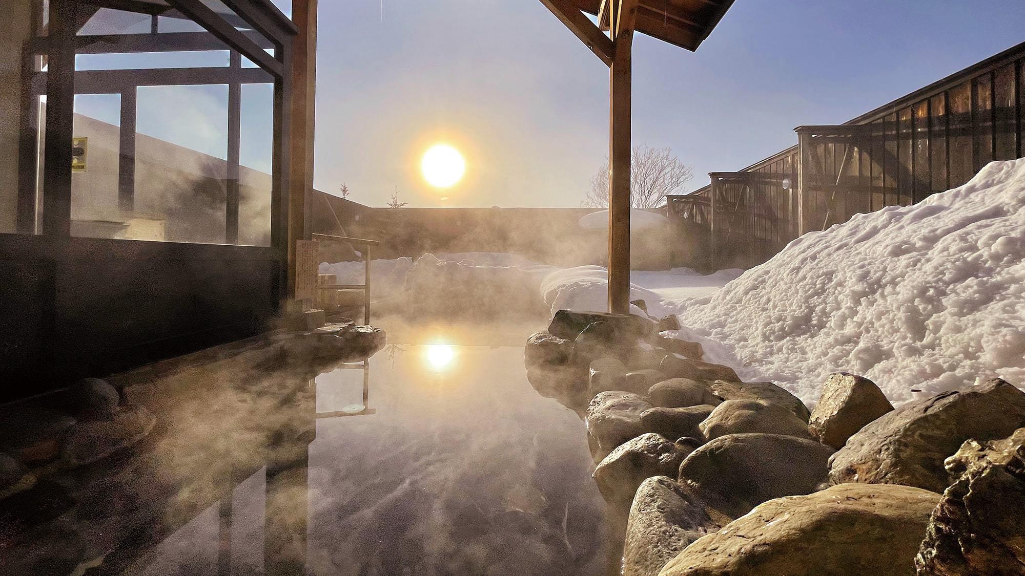 露天風呂の夕陽