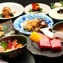 """■""""地産地消""""贅沢に味わうグレードアップ料理一例"""