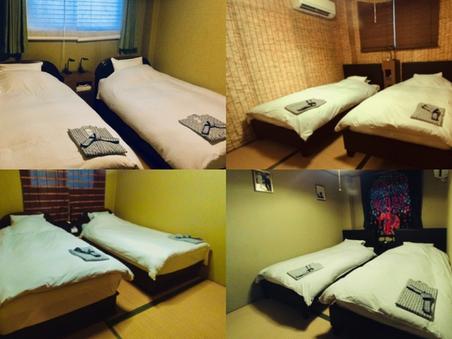 ツインベッド和室+室外プライベートシャワー/トイレ付 無料P