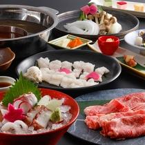 淡路島の海と山の恵みを詰め込んだ二色鍋をメインにしたコース(料理イメージ)