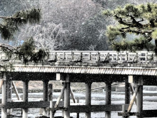 雪景色の渡月橋