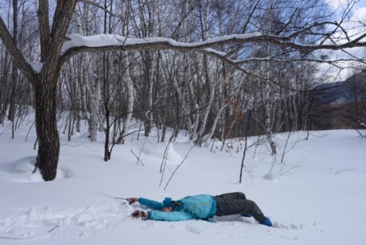 新雪の中でお昼寝