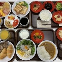 朝食はビュッフェは5:30から!パンや卵料理等の洋食から、ご飯やみそ汁、煮物等の和食まで充実の品揃え