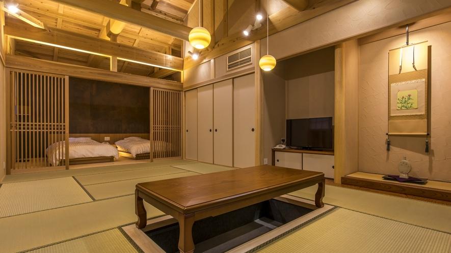 【和洋スイート】12畳の和室とセミダブルのベッドルームを備えた和モダンなお部屋です。