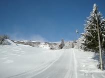【山頂へ①】玄関を出てスキーを履く!*全面滑走シーズンに限ります。