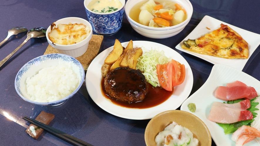 *[夕食一例]和洋中バランスの取れた全6品の家庭的な手作り料理をご用意致します