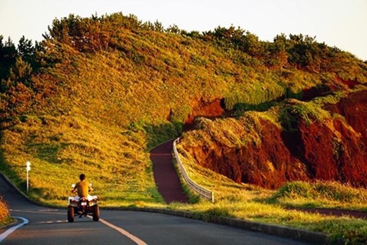 大島の観光名所「赤禿(あかっぱげ)」とバギー