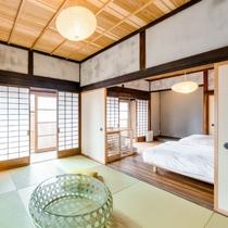【ペットと泊まれるSEIGAKU 303】専用の畳や愛犬が遊べる縁側をしつらえた安心の空間です。