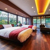 *[デラックスツイン一例]3階の角部屋に位置する開放的な空間