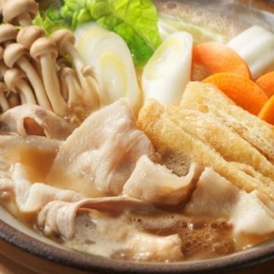 【2食付】2種類の出汁で♪《豚バラ肉と地元野菜のお鍋》好評の《籠盛り和朝食》プラン