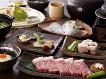 和牛石焼ステーキ付会席を掘り炬燵式のお食事処で。
