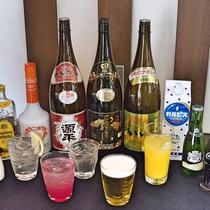 1階お食事処ではアルコールなども豊富にございます。館内でお酒をお愉しみいただけます。