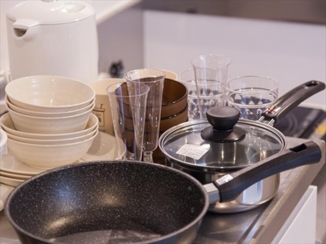 キッチンには調理器具を完備