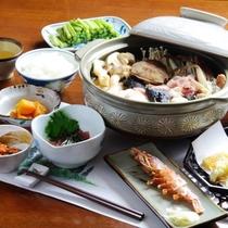 【夕食】全体(海鮮鍋)