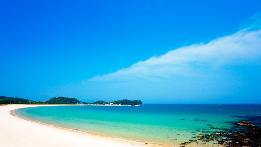 *【筒城浜海水浴場】当館から車で約40分。日本の快水浴場100選に選ばれた白砂のビーチ!
