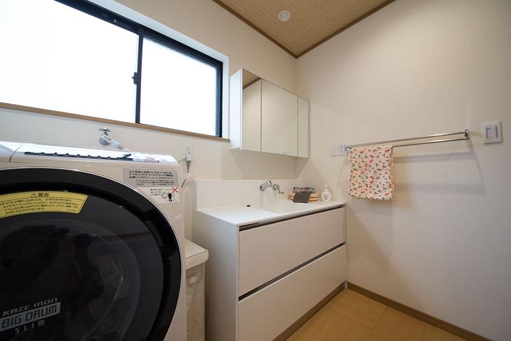 脱衣場、洗面、ドラム式洗濯機
