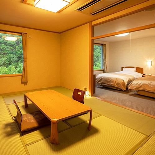 ■和洋室ツイン■寝るときはベッドがいいけど和室の雰囲気も味わいたい、そんな方に必見のお部屋です