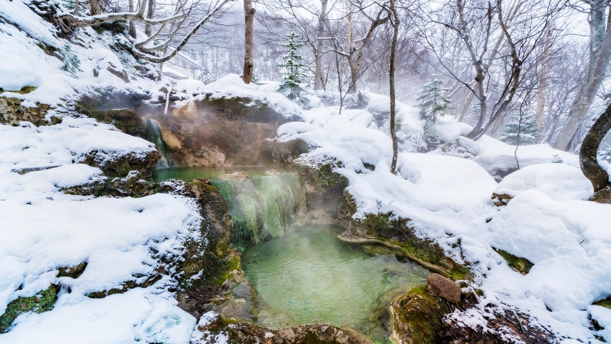 【野湯 三段の湯】秘湯 岩尾別温泉を象徴する原生林に囲まれた野湯。秘湯ファンに人気のスポット。