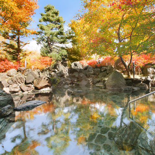 【秋】紅葉の五色温泉露天岩風呂