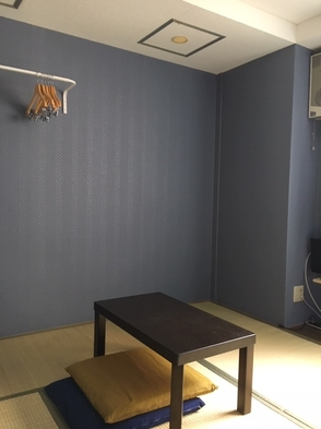 オゾン除菌済、禁煙15平米、6畳和室orフロア1or3名まで個室利用!クーラー。連泊