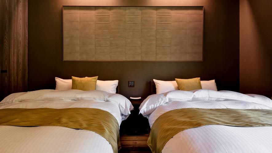 **【部屋・ベッド(かえで)】シモンズ社のベッドをご用意しております