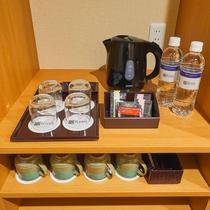 湯沸しポットを備え付けております。お部屋でお茶はいかがですか?