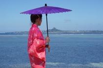 紅型琉装、備瀬の海