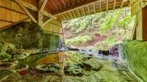 *1階宝泉の湯(岩風呂)山の香り、水のせせらぎ、心地よい温泉時間を貸切でご利用いただけます
