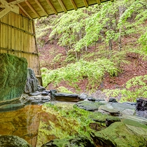 *1階宝泉の湯(岩風呂)目の前は渓流、川のせせらぎを間近に聞くことができます