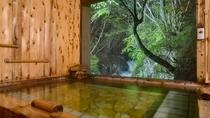 *地下1階滝見の湯 夜間は22時まで滝がライトアップされます。朝とはまた異なる美しさです