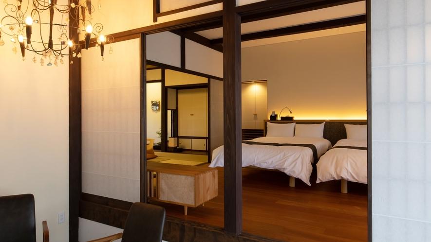*【寝室1】セミダブルベッド2台のお部屋