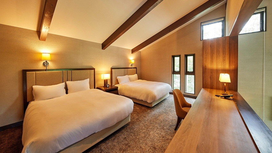 ヴィラスイート(ツイン)/66㎡/丘の上から浅間山を一望できる、高級感溢れる贅沢なスイートルーム
