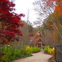 本館/庭/「森音の教会」足を踏み入れると、木々のやさしい静寂に包みこまれます。