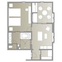 和洋室プレミア/66.9㎡/当ホテルに1室のみの、ホテルの機能性と旅館の寛ぎを兼ね備えた客室