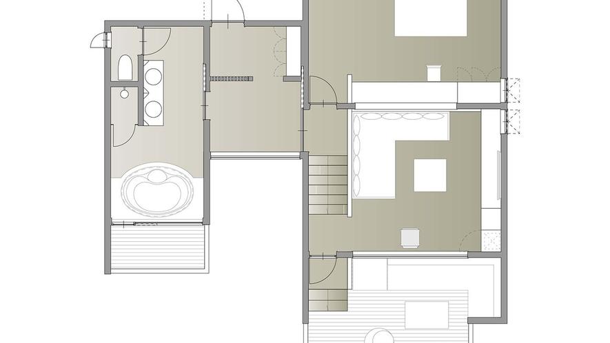 ヴィラスイート(ダブル)/66㎡/丘の上から浅間山を一望できる特別な客室。高級感溢れる贅沢なスイート