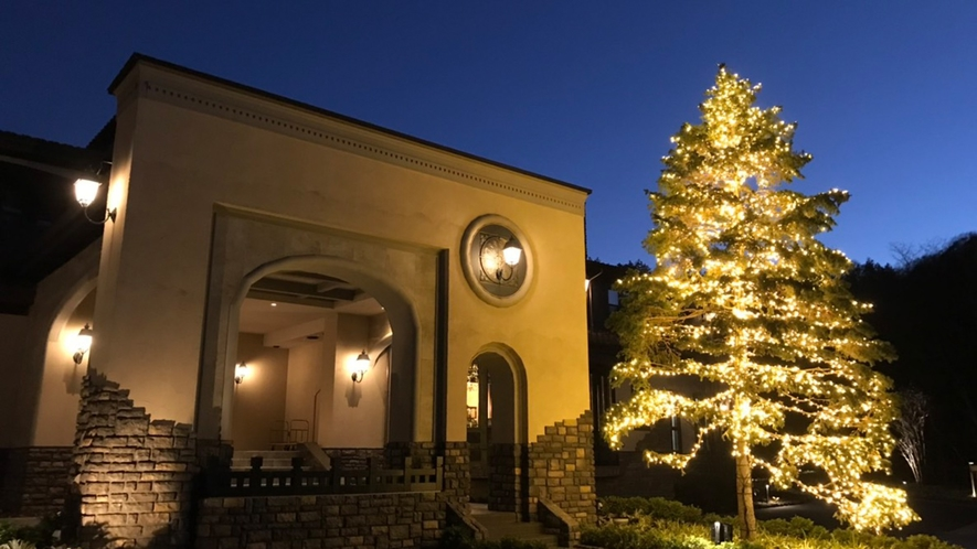 本館/外観/清閑な冬夜の軽井沢に、見上げる程のクリスマスツリー。その佇まいは息を呑む美しさ