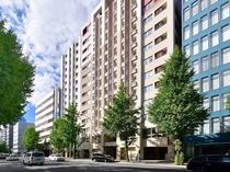外観 筑紫通り沿いに面しております。博多駅からは徒歩で約10分ほどです。
