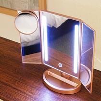 【部屋備品】女性に嬉しいライト付き三角鏡