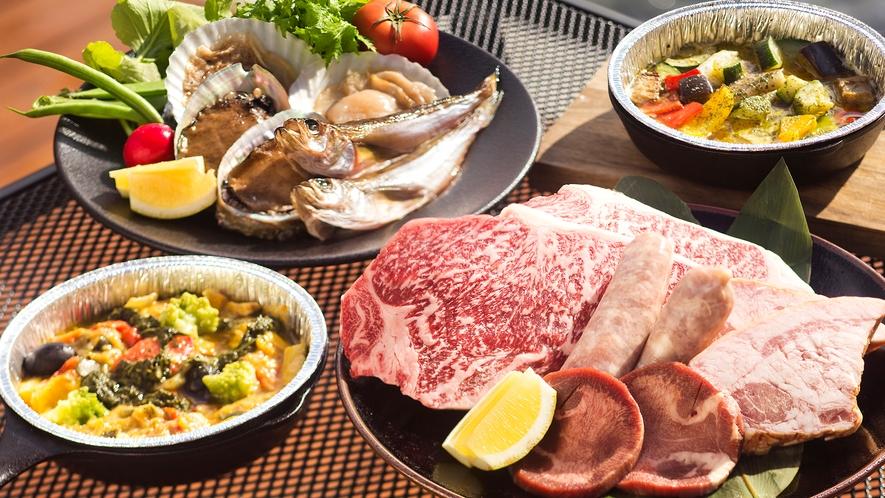 【グランピングBBQ】肉魚